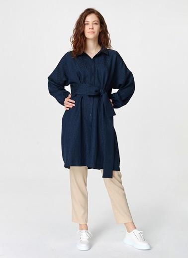 Mizalle Jakar Desenli Kuşaklı Tunik Elbise Lacivert